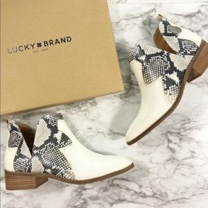 NEW Lucky Brand | Leymon Leather Snake Print Boots